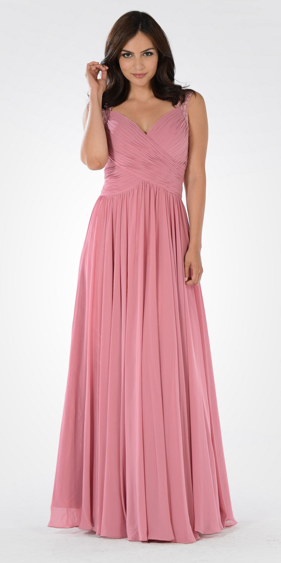Dusty Rose Plunging Neck Embroidered Back A-Line Prom Dress Long