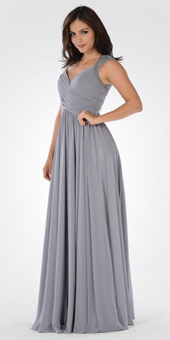 Gray Plunging Neck Embroidered Back A-Line Prom Dress Long