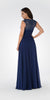 Navy Blue Plunging Neck Embroidered Back A-Line Prom Dress Long