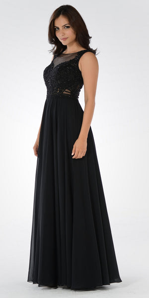 Illusion Lace Applique Sleeveless A-line Chiffon Dress Long Black