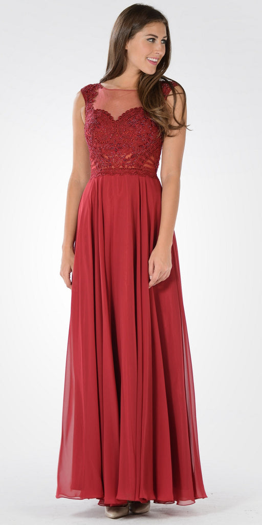 Illusion Lace Applique Sleeveless A-line Chiffon Dress Long Burgundy
