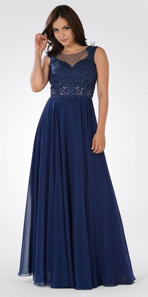 Illusion Lace Applique Sleeveless A-line Chiffon Dress Long Navy Blue