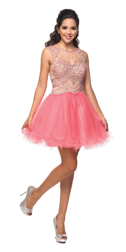 Juliet 761 Coral Short Prom Dress Embellished Bodice with Keyhole