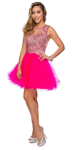 Juliet 761 Fuchsia Short Prom Dress Embellished Bodice with Keyhole