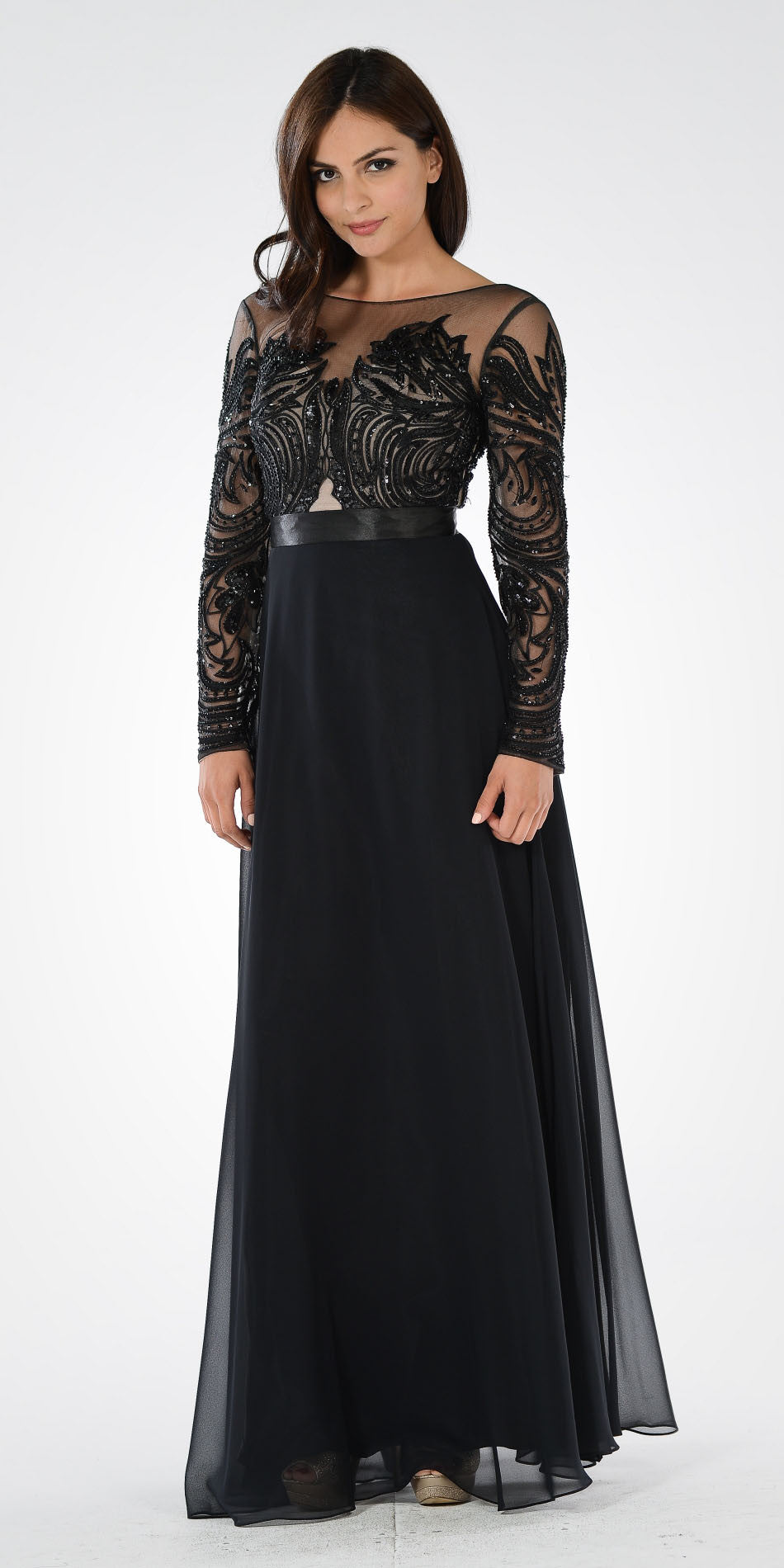 249a0cacfd8ab Black Long Sleeves Illusion Beaded Bodice A-line Formal Dress. Tap to expand