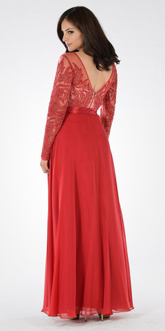 Burgundy Long Sleeves Illusion Beaded Bodice A-line Formal Dress