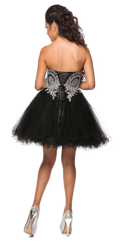 Black/Silver Sweetheart Neckline Poofy Short Prom Dress Strapless