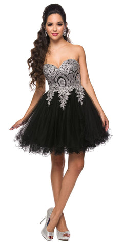 Juliet 762 Black Silver Sweetheart Neckline Poofy Short Prom Dress Strapless