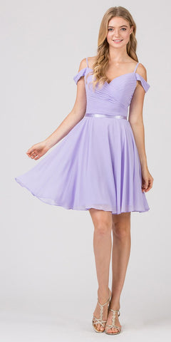Cold-Shoulder Short Homecoming Dress Lilac
