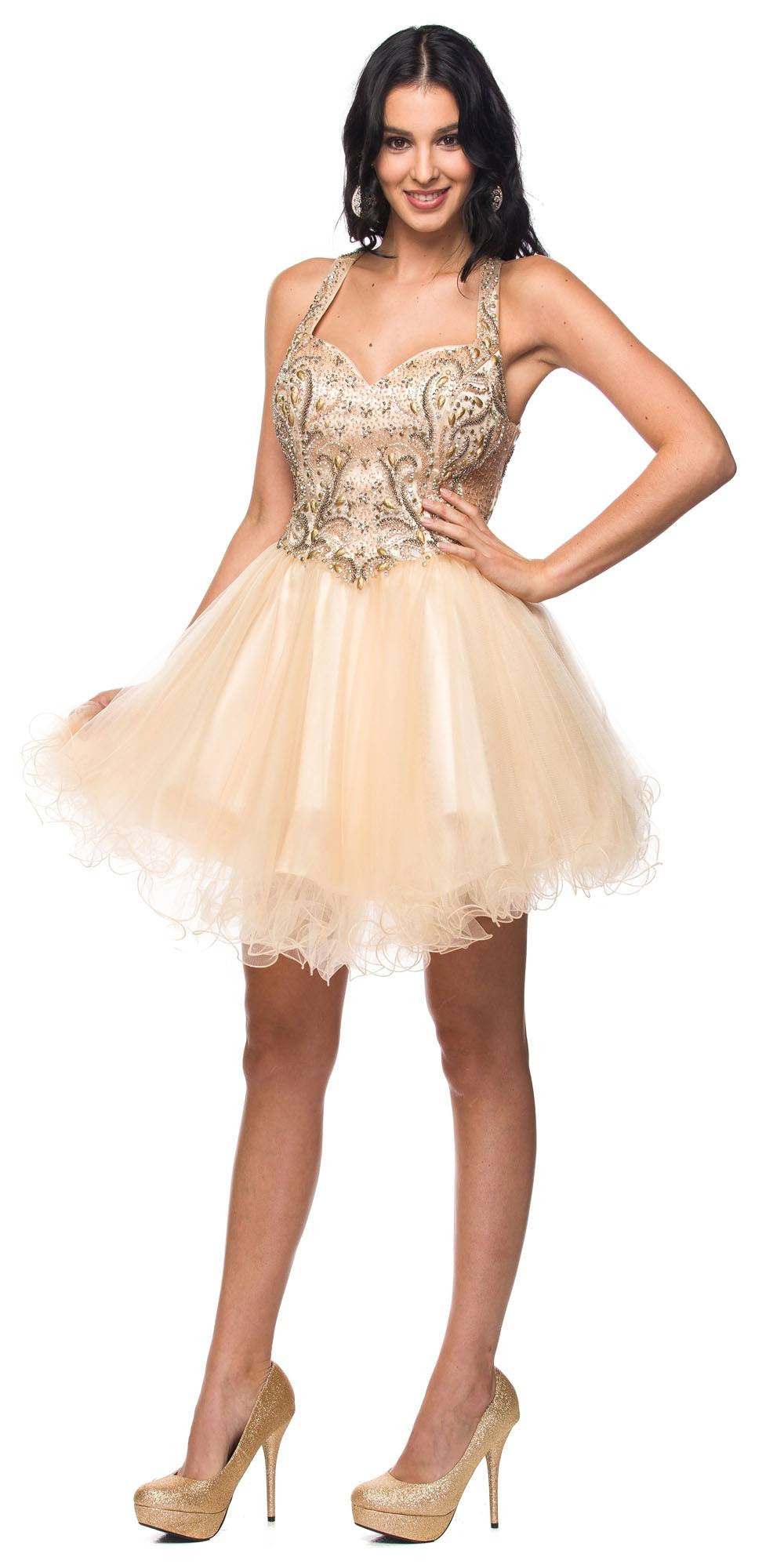 Juliet 763 Champagne Halter Beaded Bodice Cut Out Back Homecoming Dress