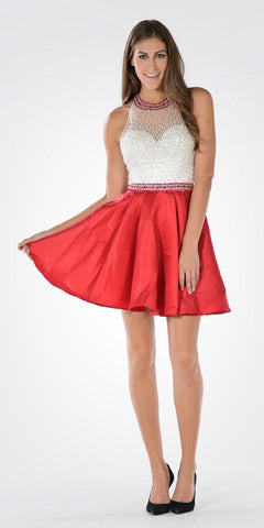 Red/White Halter Pearl Beaded Top Satin Skirt Homecoming Dress