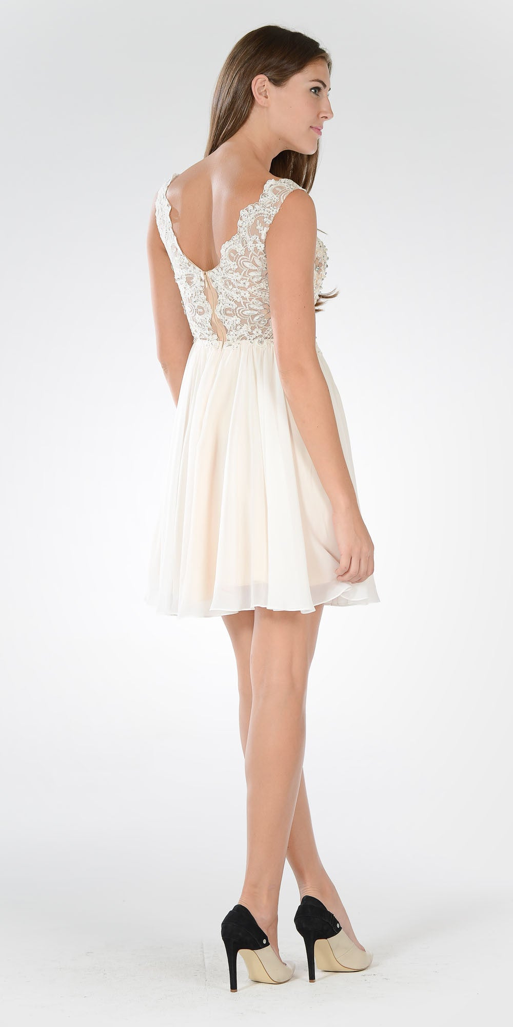 Lace Bead Appliqued Bodice V-neck Chiffon Party Dress Off White