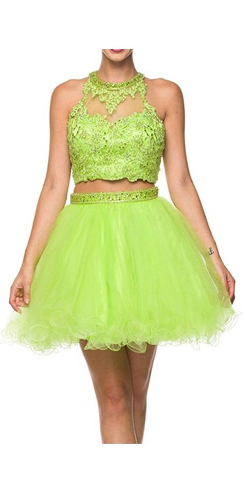 Juliet 764 Applique Bodice Keyhole Back Two-Piece Short Prom Dress Lime Green