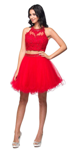 Juliet 764 Applique Bodice Keyhole Back Two-Piece Short Prom Dress Red