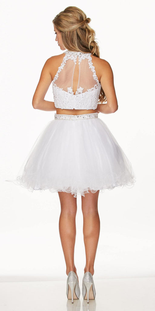 Juliet 764 Applique Bodice Keyhole Back Two-Piece Short Prom Dress White