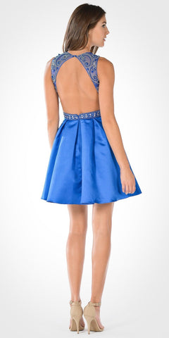 Pleated Skirt Satin Embellished Waist Open Back Damas Dress Cobalt