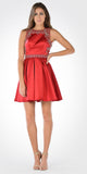Pleated Skirt Satin Embellished Waist Open Back Damas Dress Red