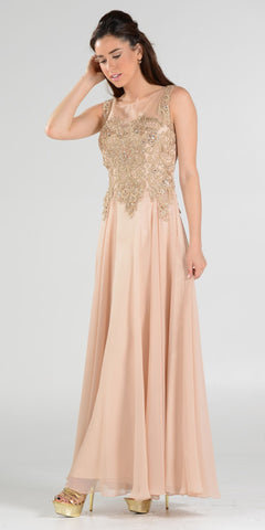 Poly USA 7644 Appliqued Illusion Bodice Champagne Long Formal Dress Sleeveless