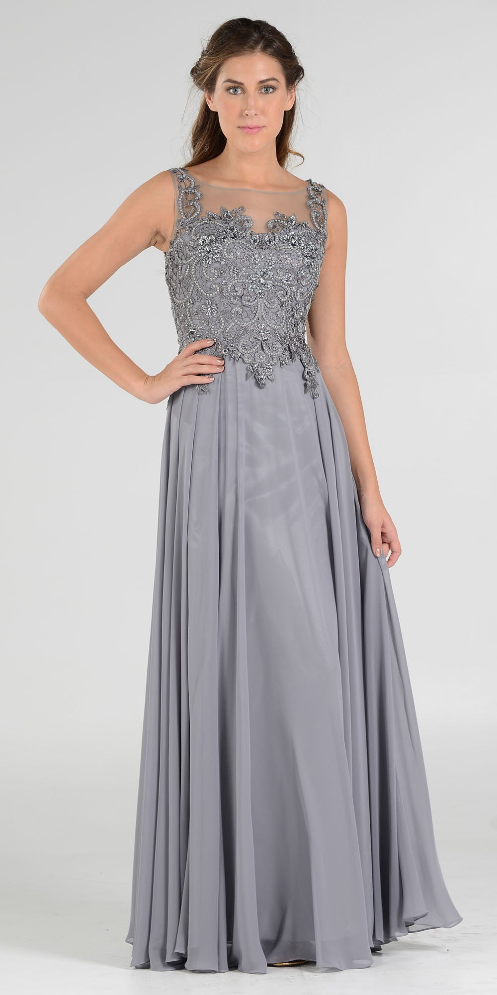 Appliqued Illusion Bodice Silver Long Formal Dress Sleeveless