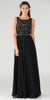 Black Scoop Neck Sheer Embellished Bodice A-line Formal Dress Long