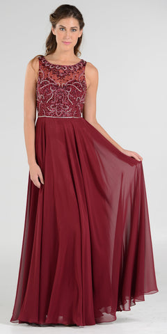 Burgundy Scoop Neck Sheer Embellished Bodice A-line Formal Dress Long