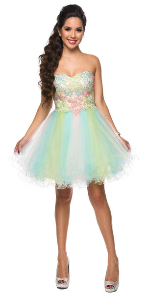 Juliet 765 Rainbow Strapless Bead Applique Bodice Tulle Homecoming Dress