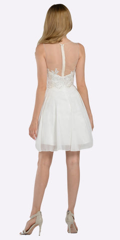 Bateau Neck Embellished Bodice Chiffon Skirt Short Party Dress Off White Back View