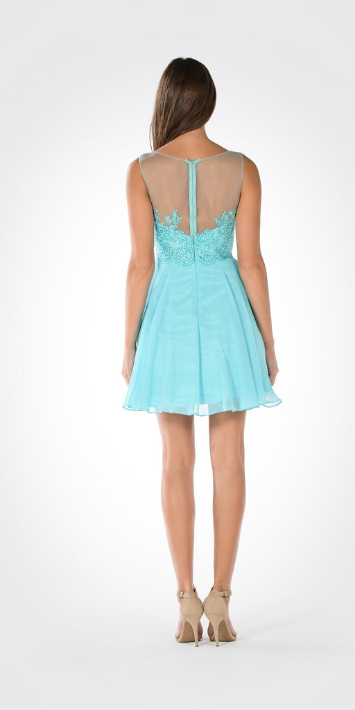 Bateau Neck Embellished Bodice Chiffon Skirt Short Party Dress Aqua