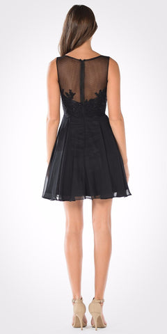 Bateau Neck Embellished Bodice Chiffon Skirt Short Party Dress Black