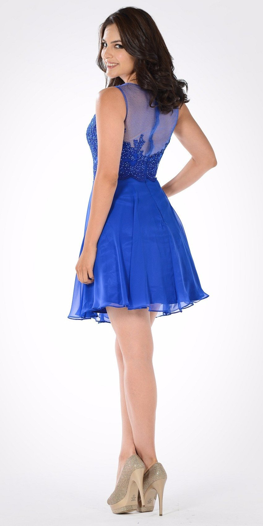 Bateau Neck Embellished Bodice Chiffon Skirt Short Party Dress Cobalt