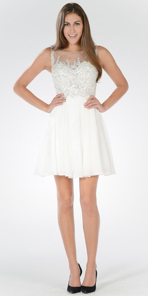 Bateau Neck Embellished Bodice Chiffon Skirt Short Party Dress Off White
