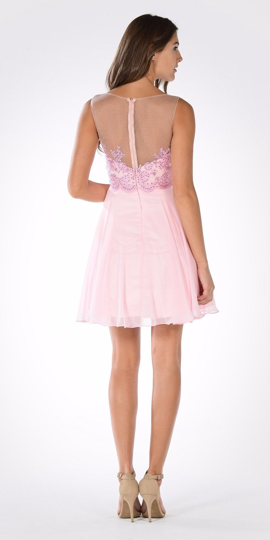 Bateau Neck Embellished Bodice Chiffon Skirt Short Party Dress Pink