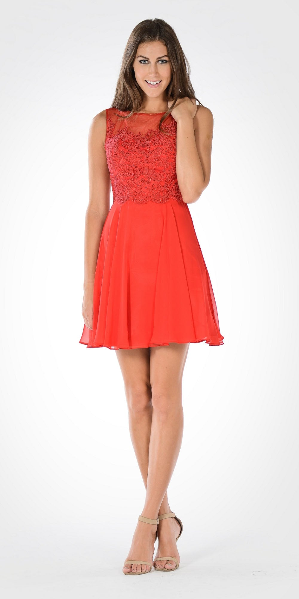 Bateau Neck Embellished Bodice Chiffon Skirt Short Party Dress Red