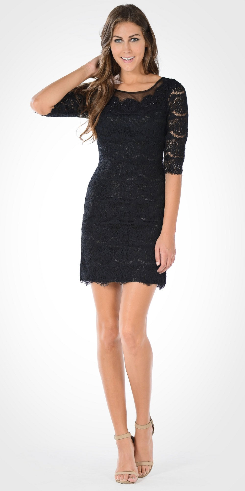Black Scoop Neck Mid Sleeves Lace Bodycon Party Dress