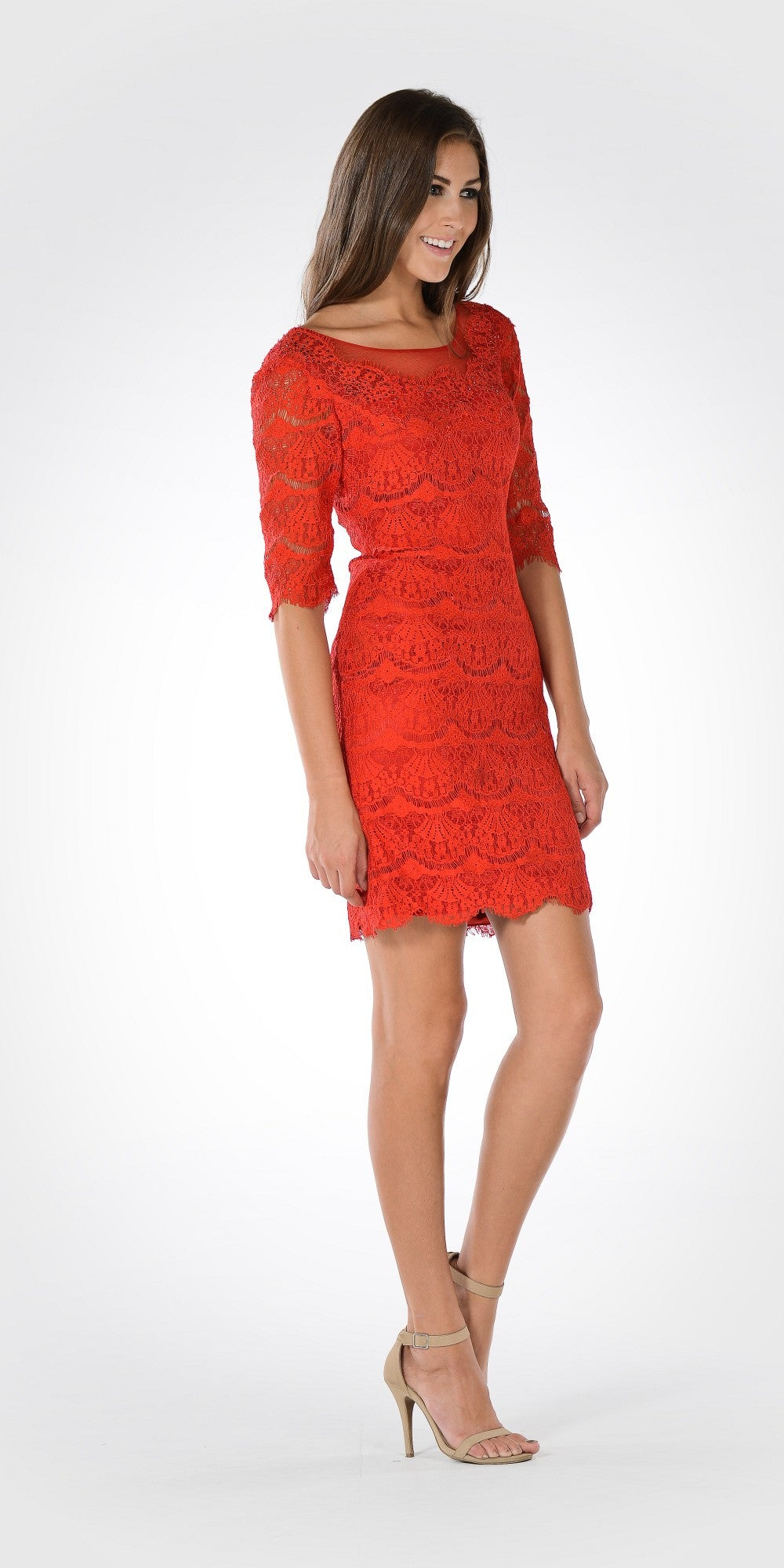 Red Scoop Neck Mid Sleeves Lace Bodycon Party Dress