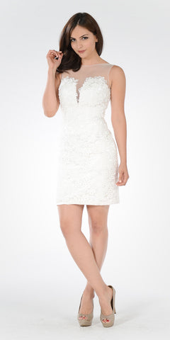 Off White Lace Illusion Above the Knee Bodycon Cocktail Dress