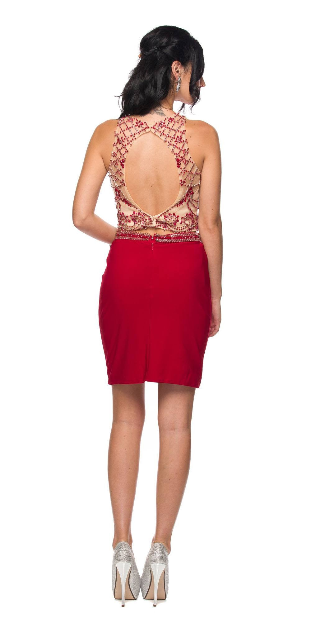 Juliet 766 Deep Red Fitted Two-Piece Short Cocktail Dress Cut-Out ...