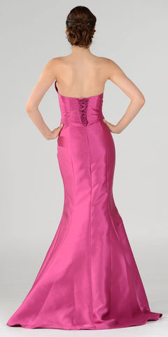 Poly USA 7674 Coral Lace Up Back Strapless Mermaid Prom Dress Long Back View