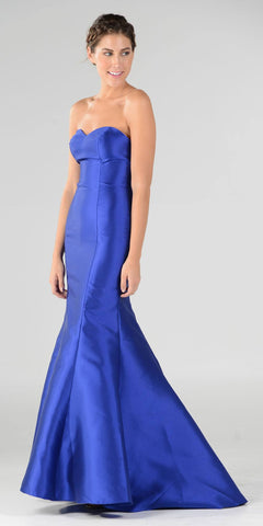 Royal Blue Lace Up Back Strapless Mermaid Prom Dress Long