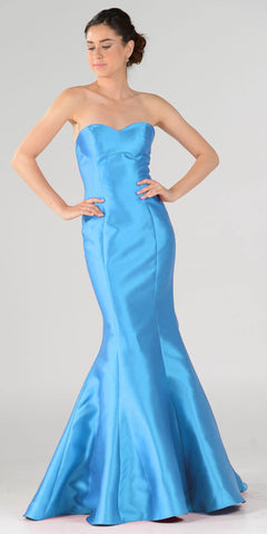 Turquoise Lace Up Back Strapless Mermaid Prom Dress Long