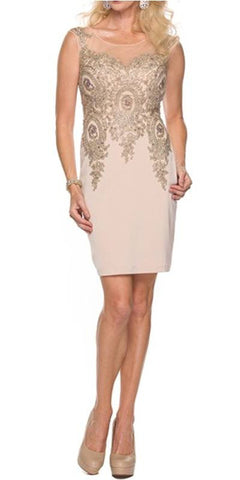 Juliet 768 Champagne Gold Short Cocktail Dress Appliqued Bodice Plus Size
