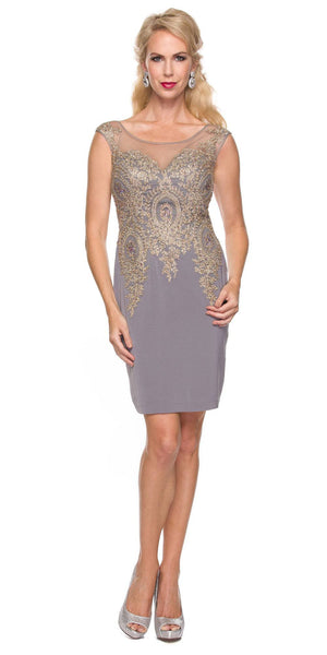 Juliet 768 Gray Gold Short Cocktail Dress Appliqued Bodice Plus Size