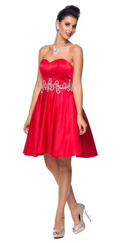 Juliet 769 Red Embellished Waist Short Homecoming Dress Strapless