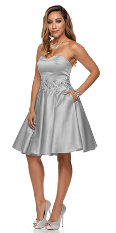 Juliet 769 Silver Embellished Waist Short Homecoming Dress Strapless