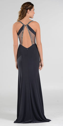 Poly USA 7692 V-Neck Long Formal Dress Sequins Open Back Cutouts Black Back View