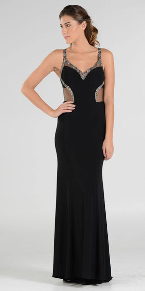 V-Neck Long Formal Dress Sequins Open Back with Cutouts Black