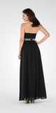 Black Strapless Embellished Waist A-line Prom Dress Long