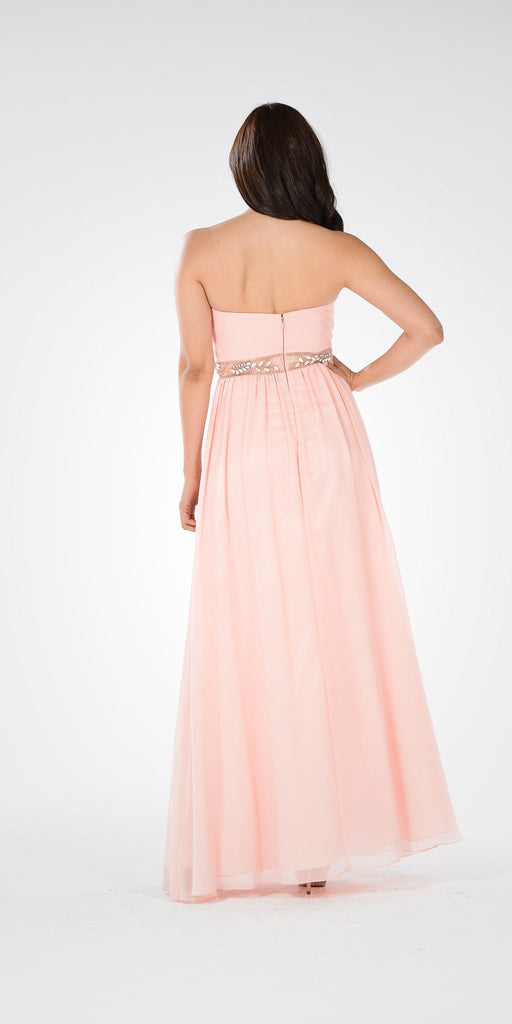 Blush Strapless Embellished Waist A-line Prom Dress Long