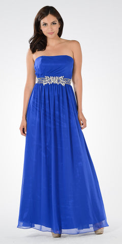 Royal Blue Strapless Embellished Waist A-line Prom Dress Long