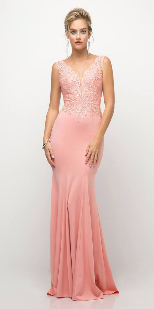 Cinderella Divine 770 V Neckline Lace Bodice Fit and Flare Evening Gown